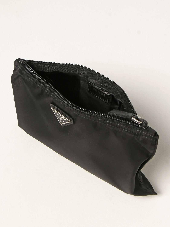 Clutch Prada: Pochette Prada in re-nylon con logo triangolare nero 5