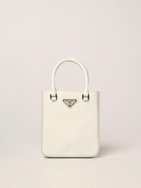 Borsa mini Prada: Borsa Prada in pelle spazzolata bianco 1