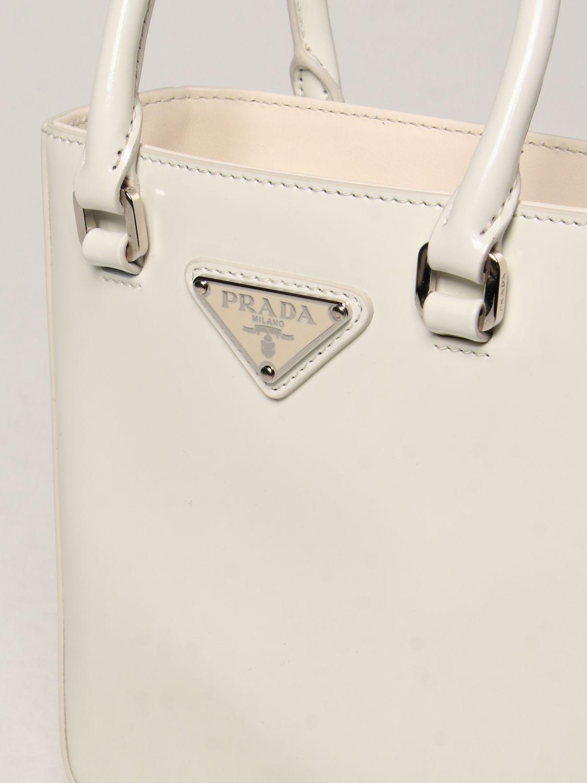 Borsa mini Prada: Borsa Prada in pelle spazzolata bianco 3