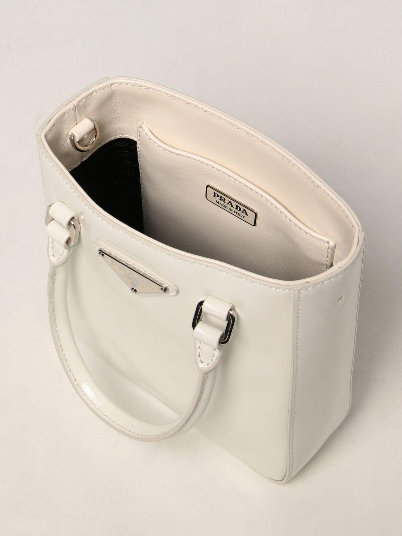 Borsa mini Prada: Borsa Prada in pelle spazzolata bianco 4