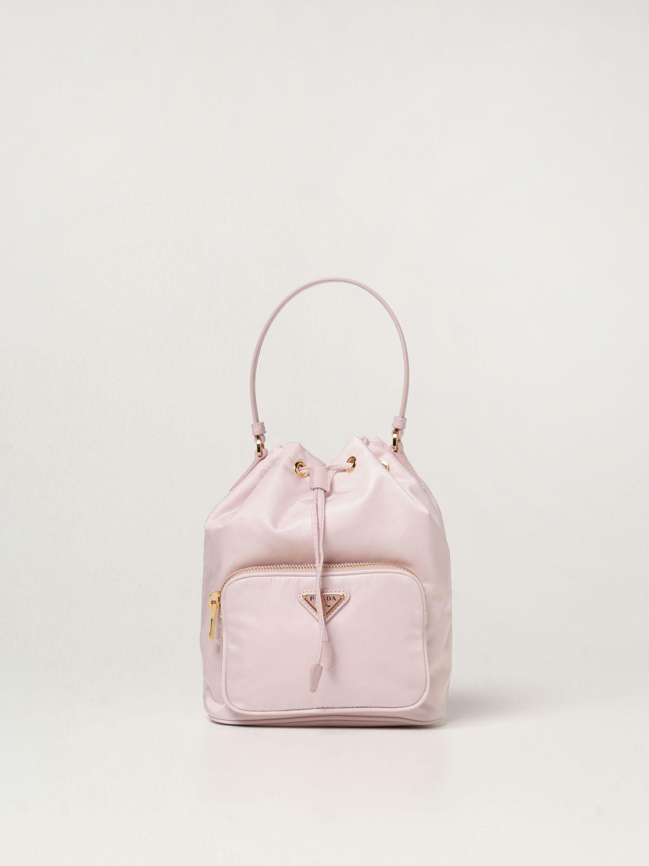 Borsa mini Prada: Borsa Prada in re-nylon con logo triangolare rosa 1