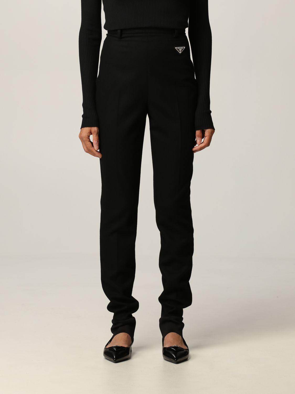 Pantalone Prada: Flanella stretch skinny con ghette nero 1