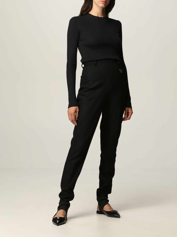 Pantalone Prada: Flanella stretch skinny con ghette nero 2