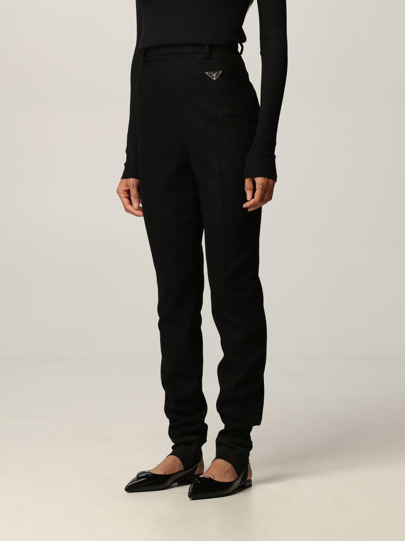 Pantalone Prada: Flanella stretch skinny con ghette nero 4