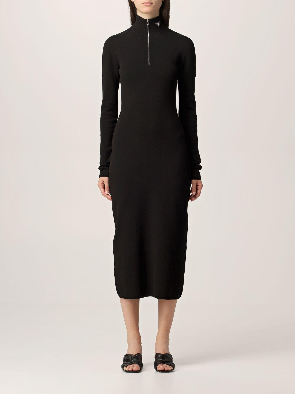 Abito Prada: Abito a dolcevita Prada in misto lana con zip nero 1