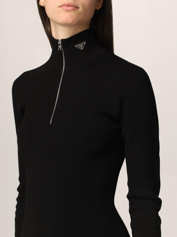 Abito Prada: Abito a dolcevita Prada in misto lana con zip nero 4