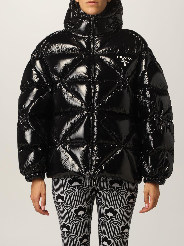 Giacca Prada: Piumino nylon lucido padded con cappuccio nero 1