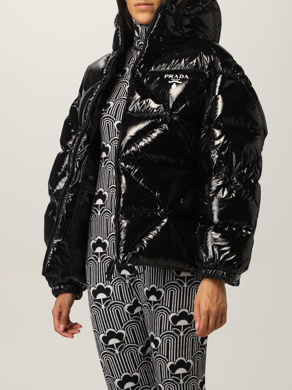 Giacca Prada: Piumino nylon lucido padded con cappuccio nero 4