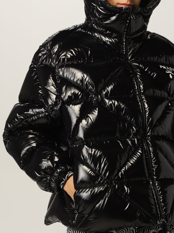 Giacca Prada: Piumino nylon lucido padded con cappuccio nero 5