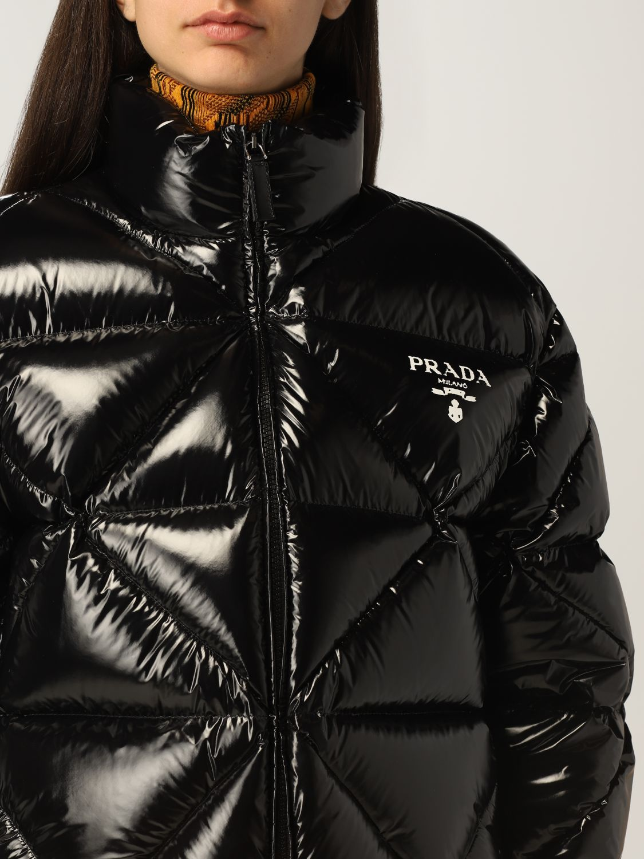 Giacca Prada: Piumino Prada in nylon lucido cropped nero 5