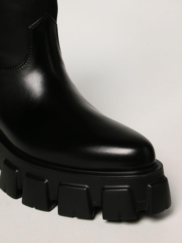 Stivali Prada: Stivale Monolith Prada in pelle spazzolata e Re-nylon nero 4
