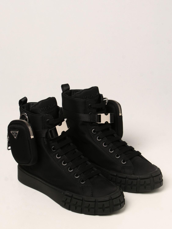 Sneakers Prada: Sneakers a polacco Wheel Prada in gabardine Re-Nylon nero 2