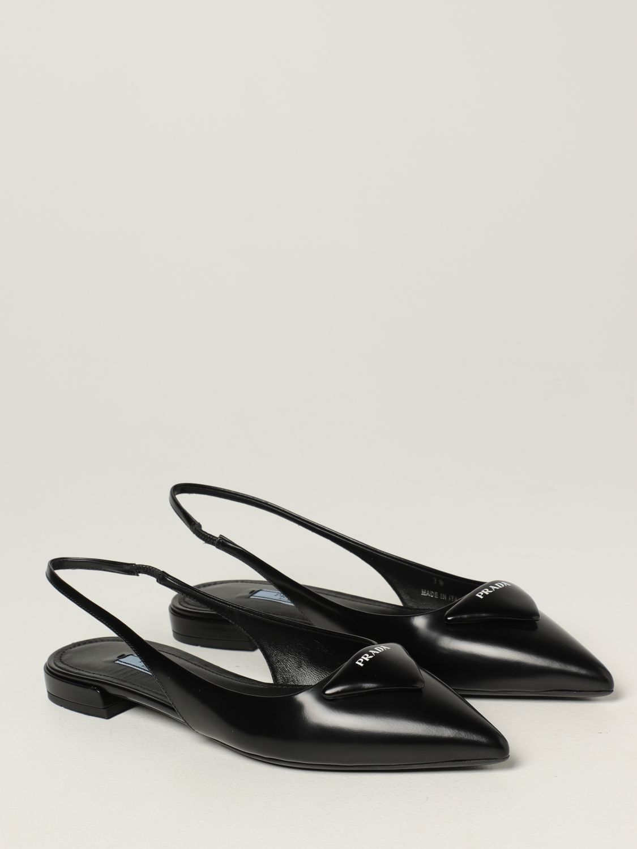 Ballerine Prada: Slingback flat Prada in pelle spazzolata nero 2