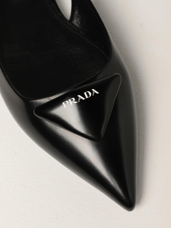 Ballerine Prada: Slingback flat Prada in pelle spazzolata nero 4