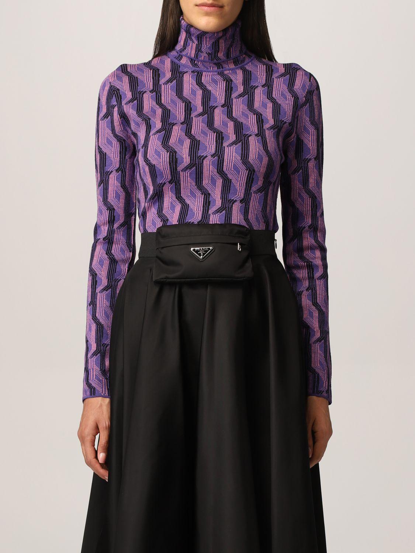 Maglia Prada: Dolcevita Prada in lana vergine a fantasia viola 1