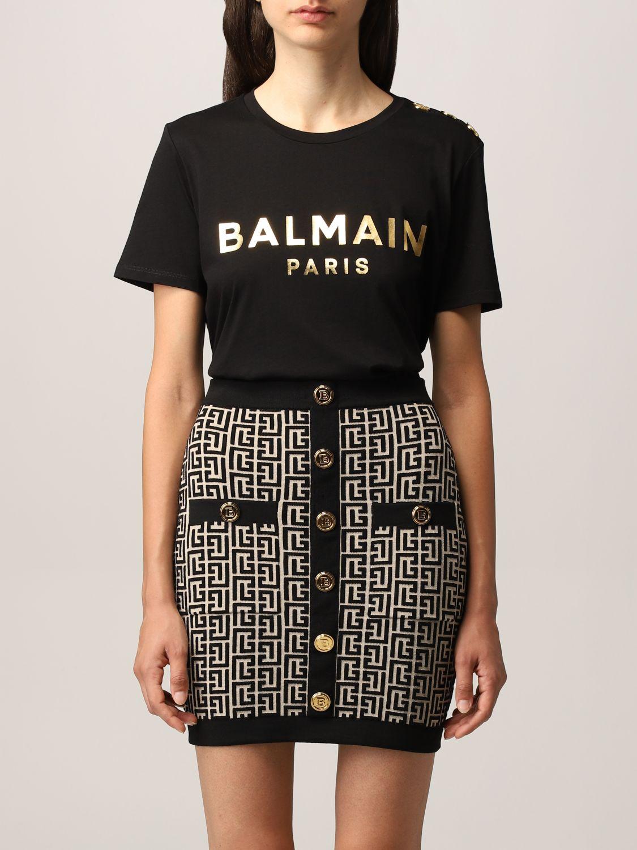 T-shirt Balmain: T-shirt Balmain in cotone con logo laminato nero 1