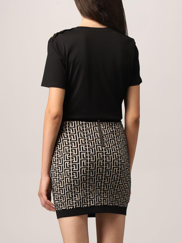 T-shirt Balmain: T-shirt Balmain in cotone con logo laminato nero 3