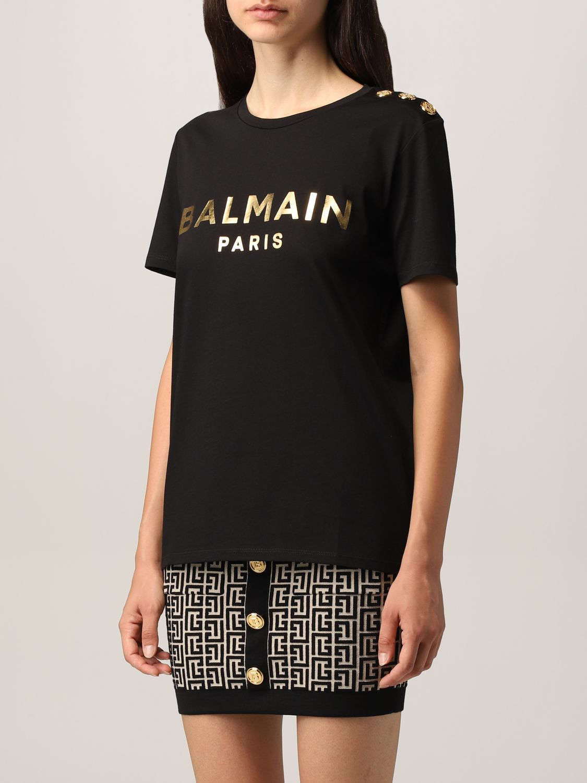 T-shirt Balmain: T-shirt Balmain in cotone con logo laminato nero 4