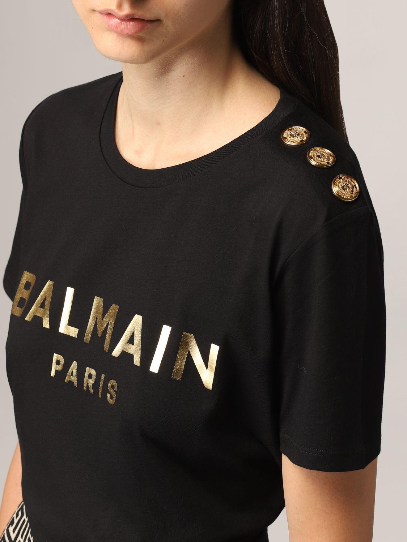 T-shirt Balmain: T-shirt Balmain in cotone con logo laminato nero 5