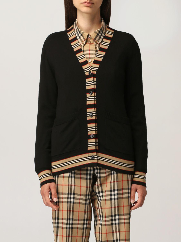 Cardigan Burberry: Cardigan Burberry in lana con profili a righe nero 1