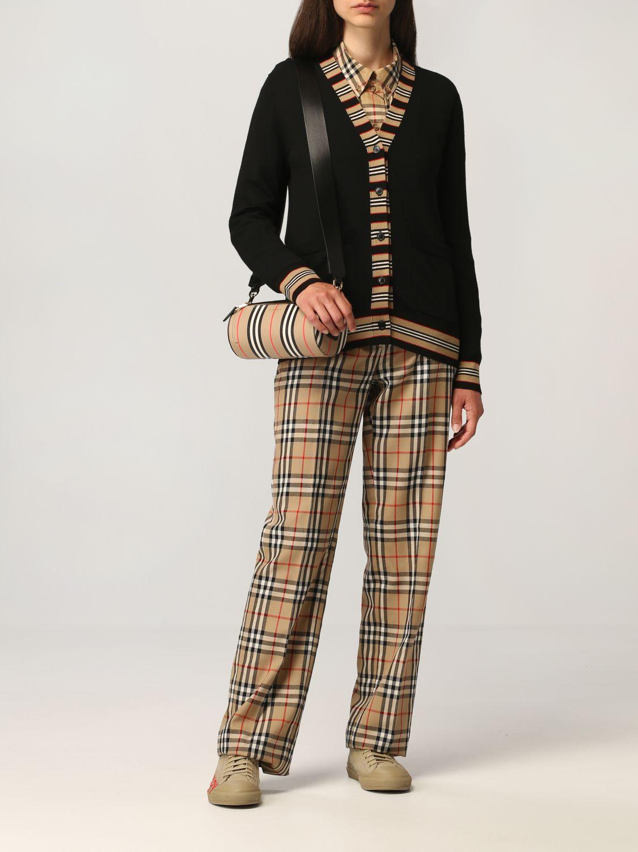 Cardigan Burberry: Cardigan Burberry in lana con profili a righe nero 2