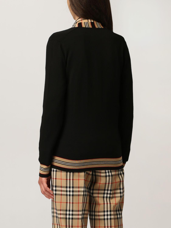 Cardigan Burberry: Cardigan Burberry in lana con profili a righe nero 3