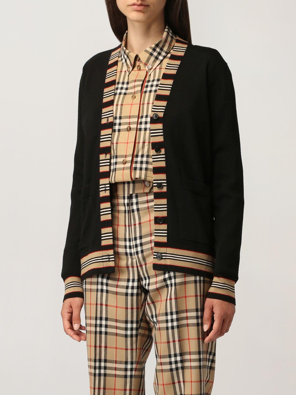 Cardigan Burberry: Cardigan Burberry in lana con profili a righe nero 4