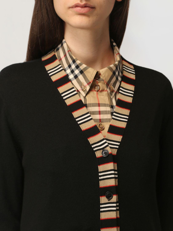 Cardigan Burberry: Cardigan Burberry in lana con profili a righe nero 5