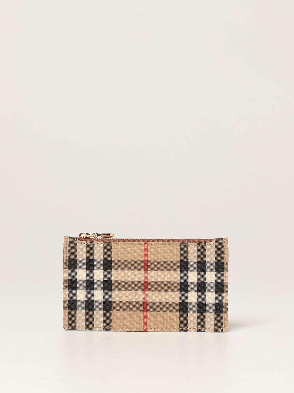 Portafoglio Burberry: Porta carte di credito Burberry in tela e pelle beige 1