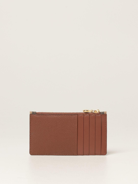 Portafoglio Burberry: Porta carte di credito Burberry in tela e pelle beige 2