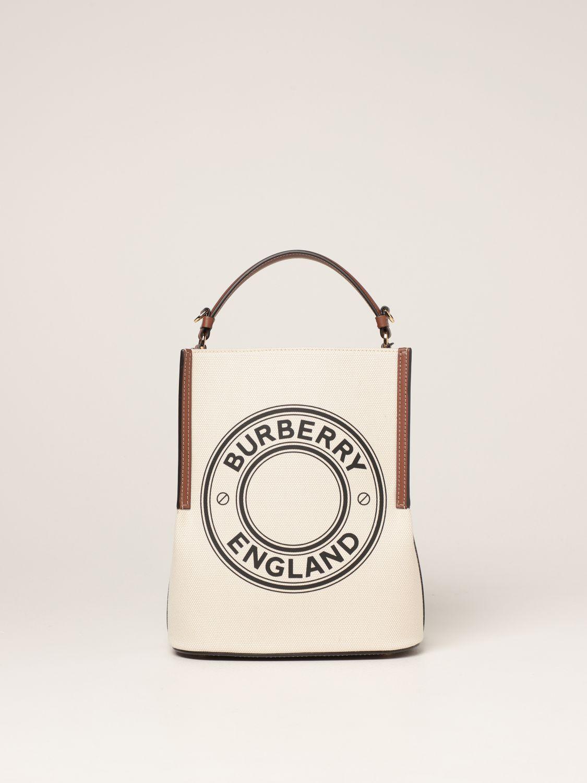 Borsa a mano Burberry: Borsa Peggy Burberry in tela di cotone con grafica e logo naturale 1