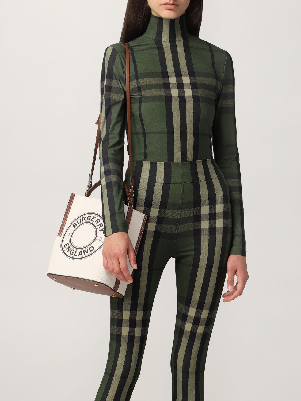 Borsa a mano Burberry: Borsa Peggy Burberry in tela di cotone con grafica e logo naturale 2