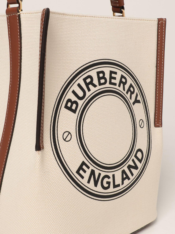 Borsa a mano Burberry: Borsa Peggy Burberry in tela di cotone con grafica e logo naturale 4