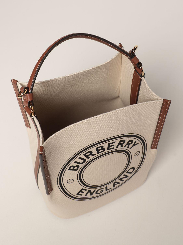Borsa a mano Burberry: Borsa Peggy Burberry in tela di cotone con grafica e logo naturale 5