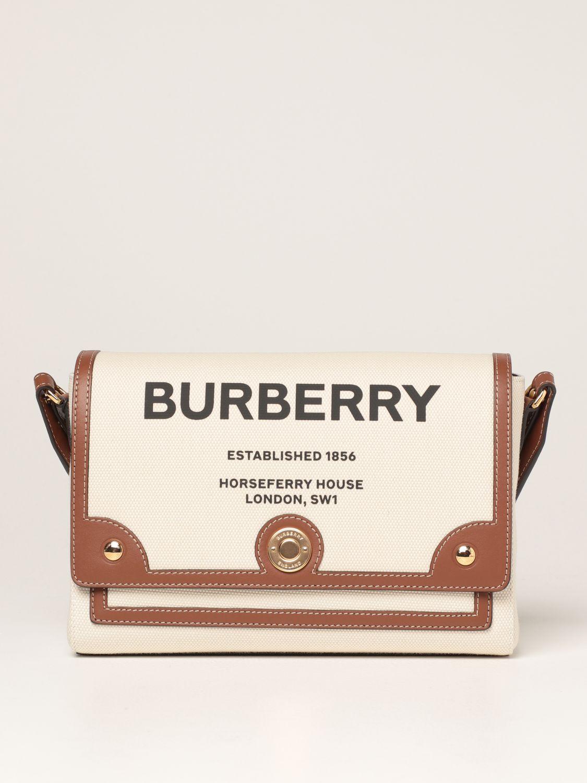 Borse a tracolla Burberry: Borsa a tracolla Note Burberry in canvas con stampa Horseferry naturale 1