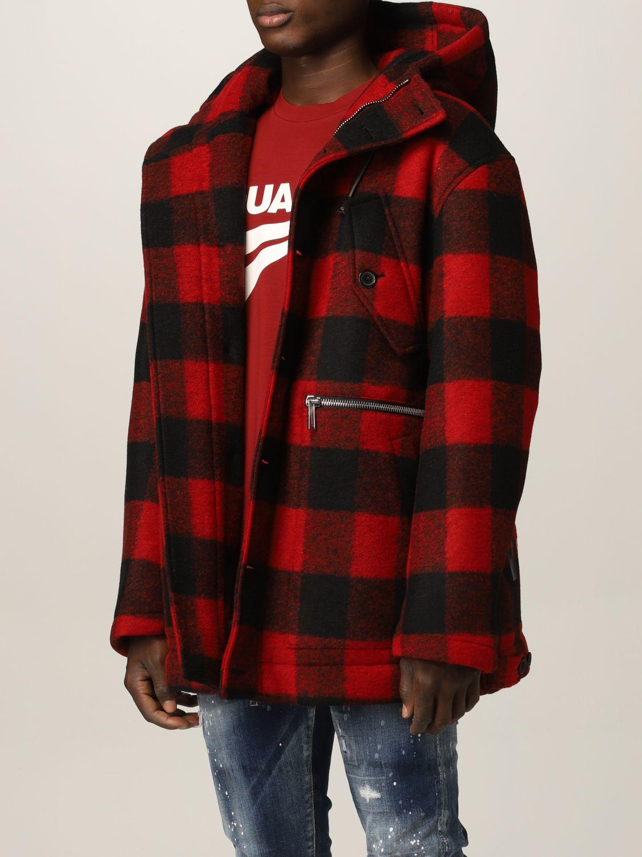Cappotto Dsquared2: Cappotto Dsquared2 in misto lana tartan rosso 4
