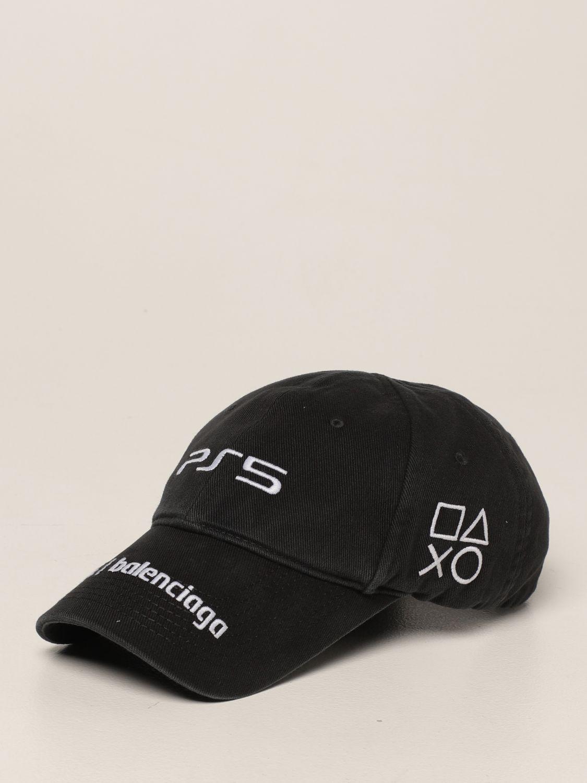 Cappello Balenciaga: Cappello da baseball Balenciaga con logo playstation nero 1