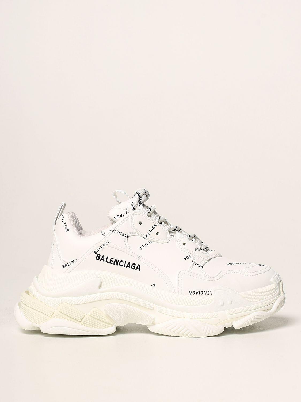 Sneakers Balenciaga: Sneakers Triple S Balenciaga con logo all over bianco 1