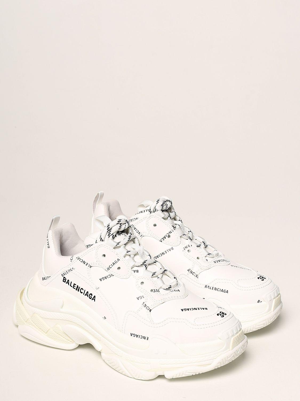Sneakers Balenciaga: Sneakers Triple S Balenciaga con logo all over bianco 2