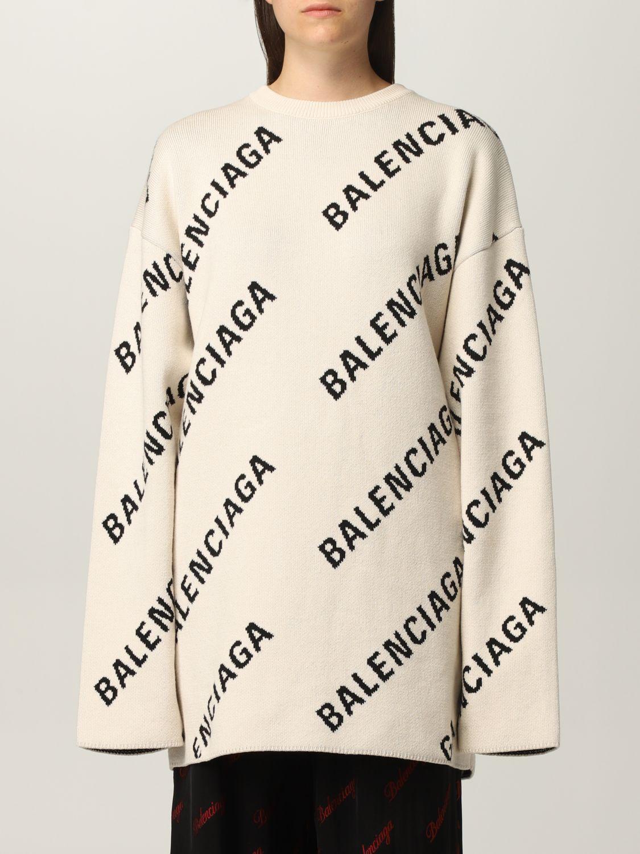 Maglia Balenciaga: Maglia oversize Balenciaga con logo all over panna 1