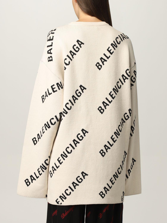 Maglia Balenciaga: Maglia oversize Balenciaga con logo all over panna 3