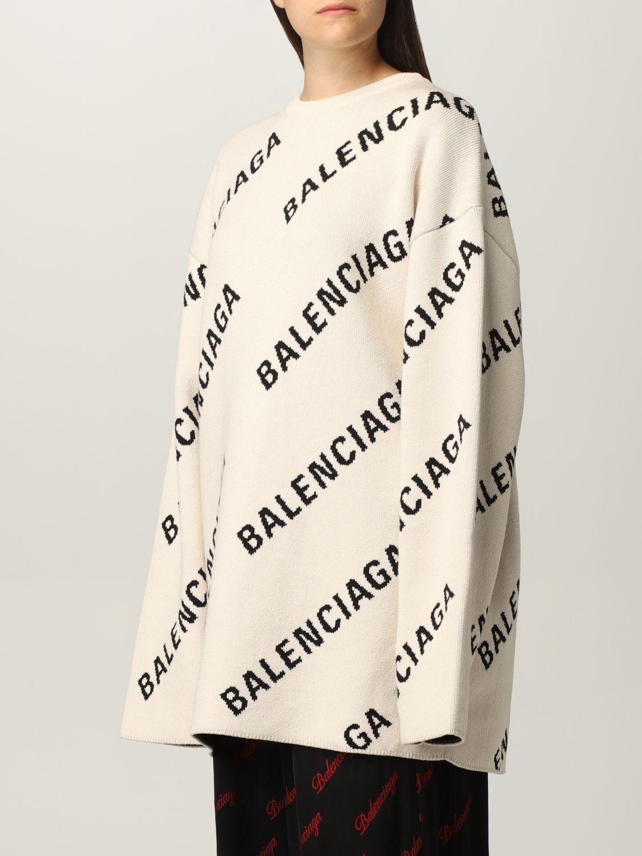 Maglia Balenciaga: Maglia oversize Balenciaga con logo all over panna 4