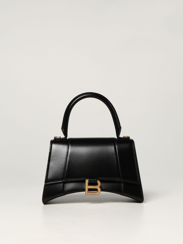 Borsa a mano Balenciaga: Borsa Hourglass top handle Balenciaga in pelle liscia nero 1