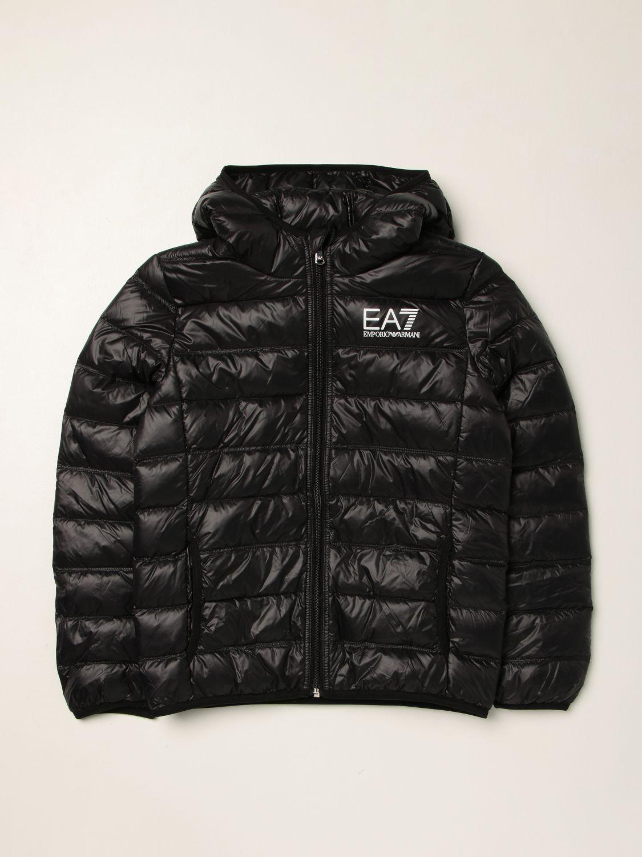 Giacca Ea7: Piumino EA7 in nylon trapuntato e imbottito con logo nero 1