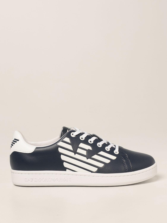Scarpe Ea7: Sneakers EA7 in pelle con logo bianco 1