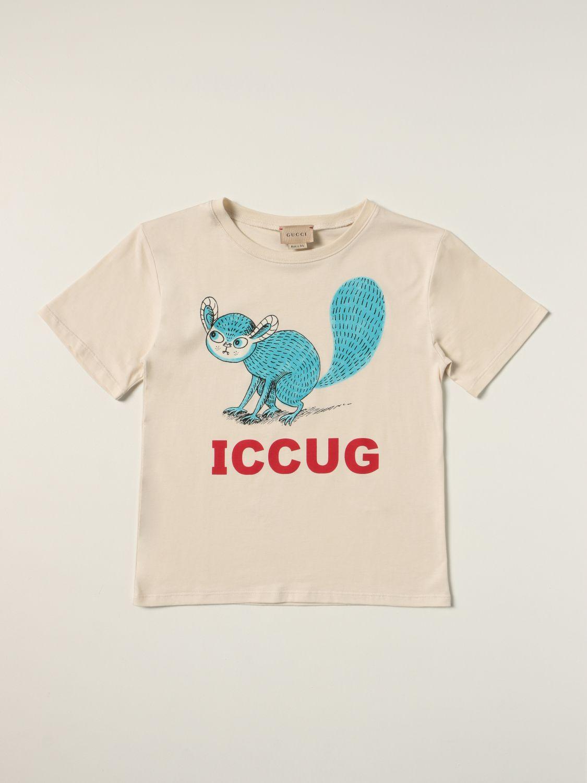 T-shirt Gucci: T-shirt Gucci in cotone con stampa illustrazione bianco 1