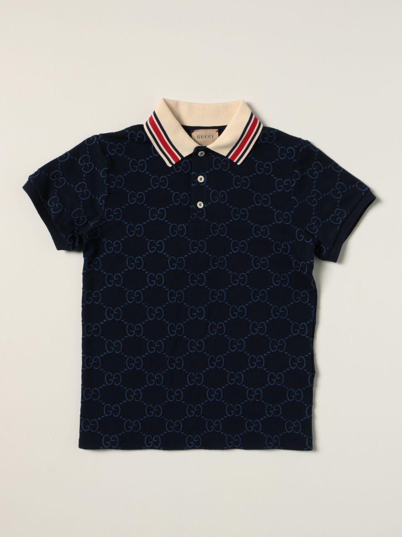 Polo Gucci: Polo Gucci in cotone con logo GG Supreme all over blue 1