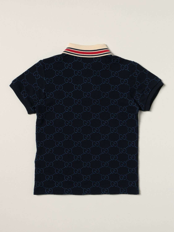Polo Gucci: Polo Gucci in cotone con logo GG Supreme all over blue 2