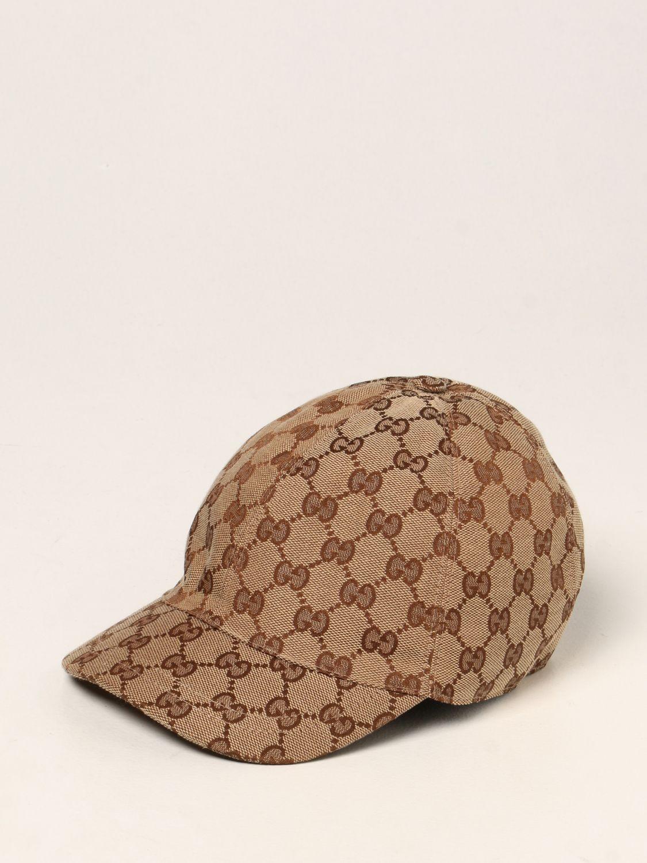 Hat Gucci: Gucci baseball hat with GG Supreme motif beige 1