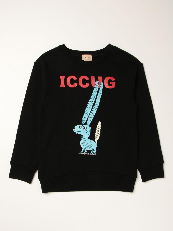 Maglia Gucci: Felpa ICCUG Gucci in cotone con logo nero 1